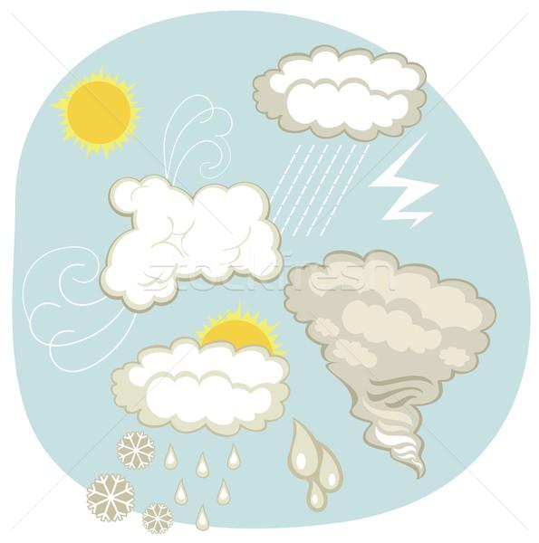 Időjárás szett különböző felhők atmoszferikus nap Stock fotó © yurumi