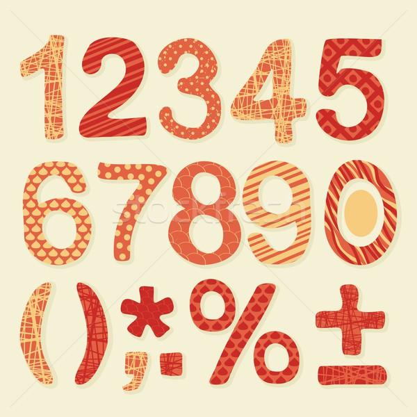Textured Numbers Set Stock photo © yurumi