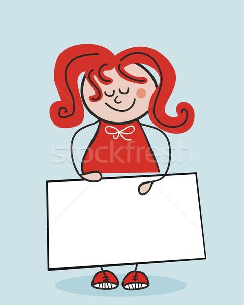 Kicsi iskolás lány tart szalag karton űr Stock fotó © yurumi
