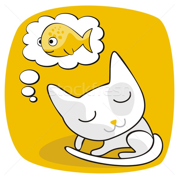 Cute gato Cartoon peces alimentos Foto stock © yurumi
