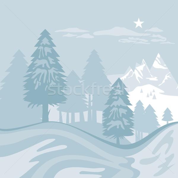 Inverno alpino paisagem montanhas árvores céu Foto stock © yurumi
