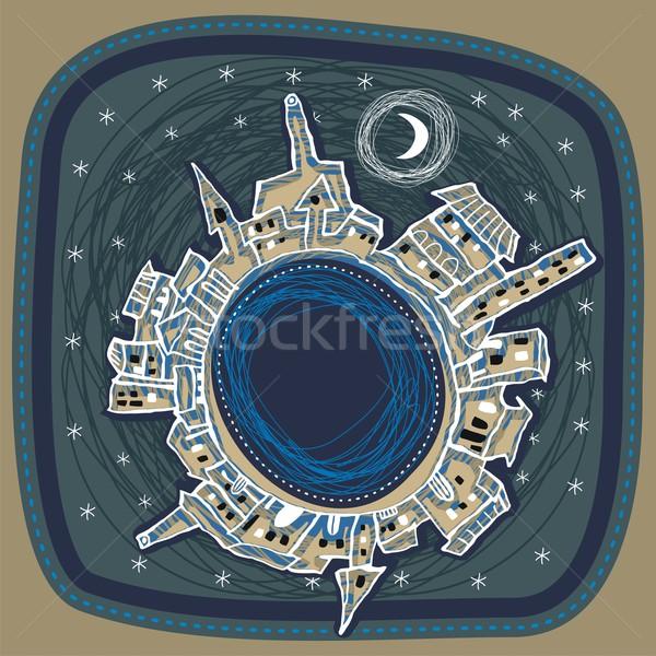 éjszakai város naív gömb alakú panoráma épület természet Stock fotó © yurumi