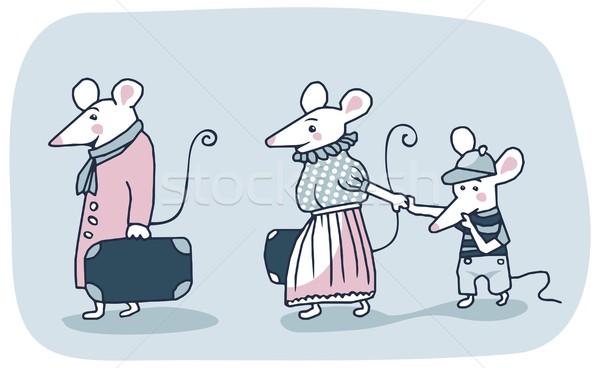 Ratones familia Cartoon blanco movimiento fuera Foto stock © yurumi
