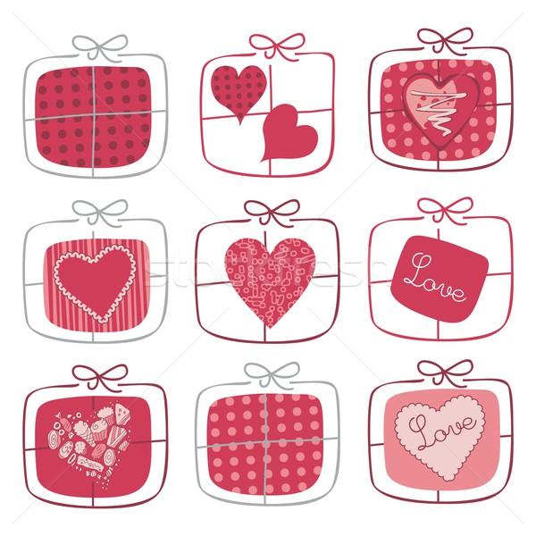 Valentin nap ajándékok szett retro nap buli Stock fotó © yurumi