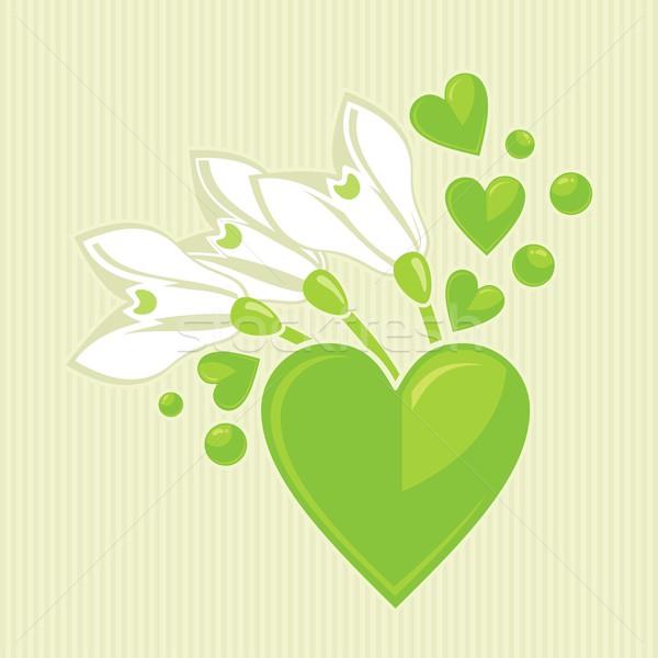 Corazones ramo verde corazón primavera feliz Foto stock © yurumi
