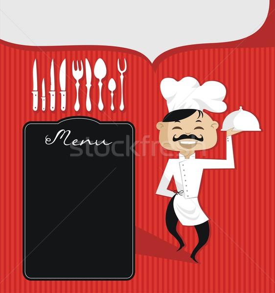 Gasztronómiai szakács retro vám szöveg konyha Stock fotó © yurumi
