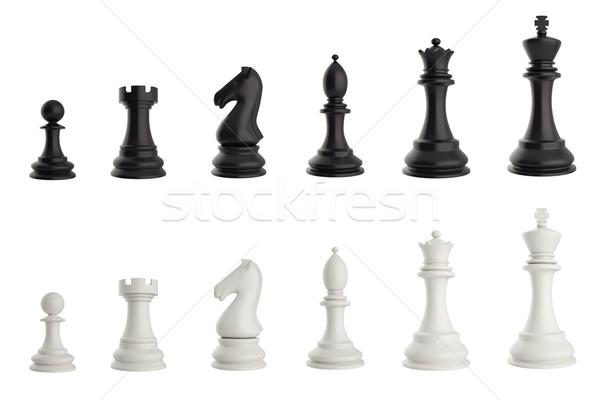 Ingesteld zwart wit schaakstukken 3d illustration teken groep Stockfoto © ZARost