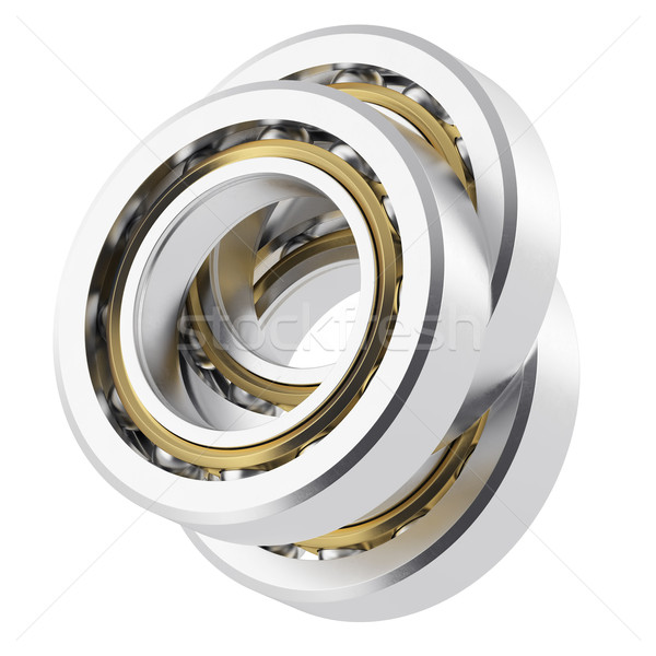 Three isolated realistic angled bearing on a white background with small scratches. Stock photo © ZARost