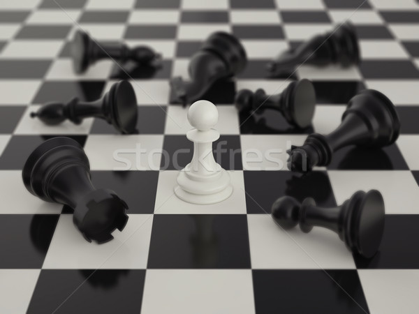 Pawn in the surrounded of black chess pieces Stock photo © ZARost