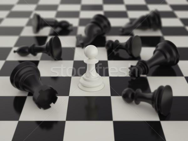 Gyalog fekete sakkfigurák homály sötét szabadság Stock fotó © ZARost