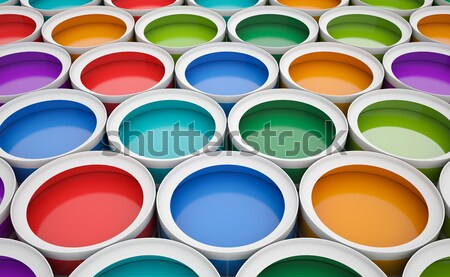 Colorful tins of paint for the background. Stock photo © ZARost
