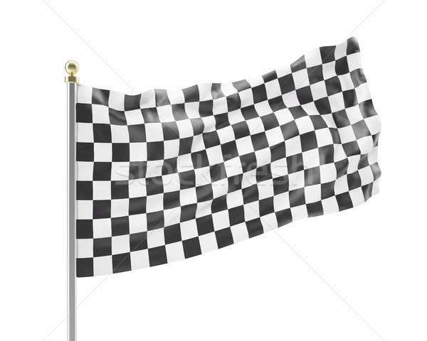Yarış bayrak yalıtılmış beyaz siyah beyaz 3d illustration Stok fotoğraf © ZARost