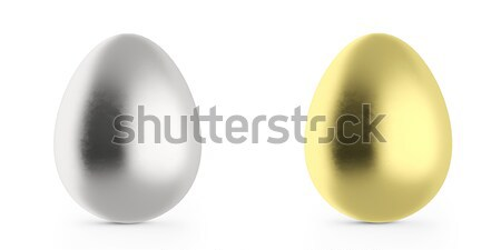 Photo stock: œufs · de · Pâques · or · argent · 3d · illustration · élevé
