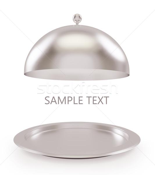 Odizolowany srebrny otwarte taca biały wysoki Zdjęcia stock © ZARost