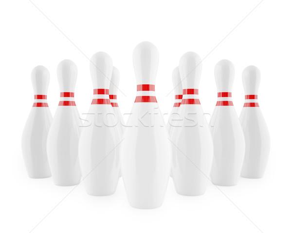боулинг красный изолированный белый 3d иллюстрации Сток-фото © ZARost