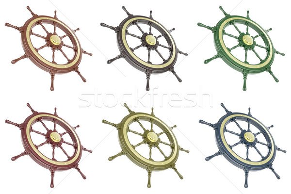 Photo stock: Navire · roue · isolé · blanche · 3d · illustration
