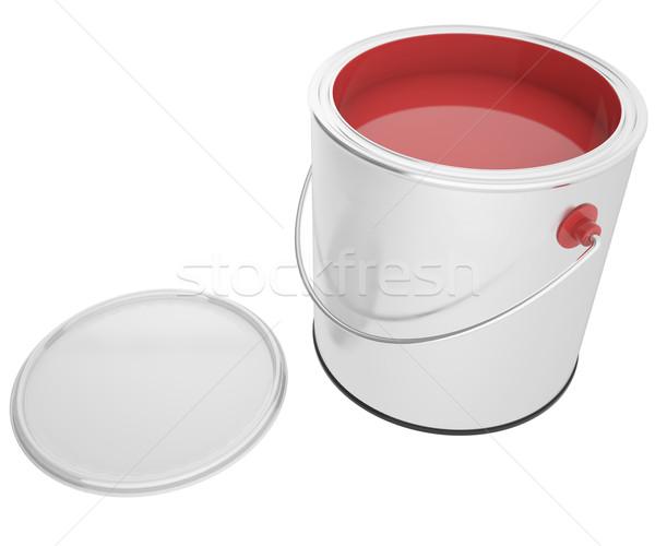 Vol bank Rood verf geïsoleerd witte Stockfoto © ZARost