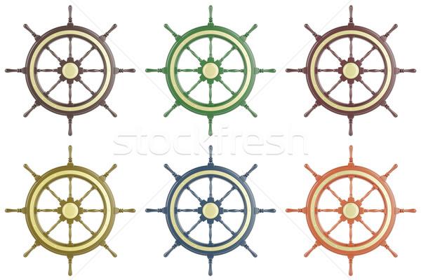 набор судно колесо изолированный белый 3d иллюстрации Сток-фото © ZARost