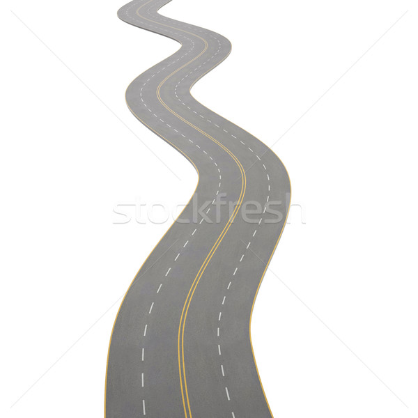 illustration of a curving, bending road, isolated on white background. Stock photo © ZARost