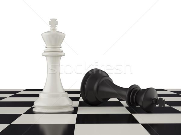 Mağlup siyah kral satranç tahtası 3d illustration savaş Stok fotoğraf © ZARost
