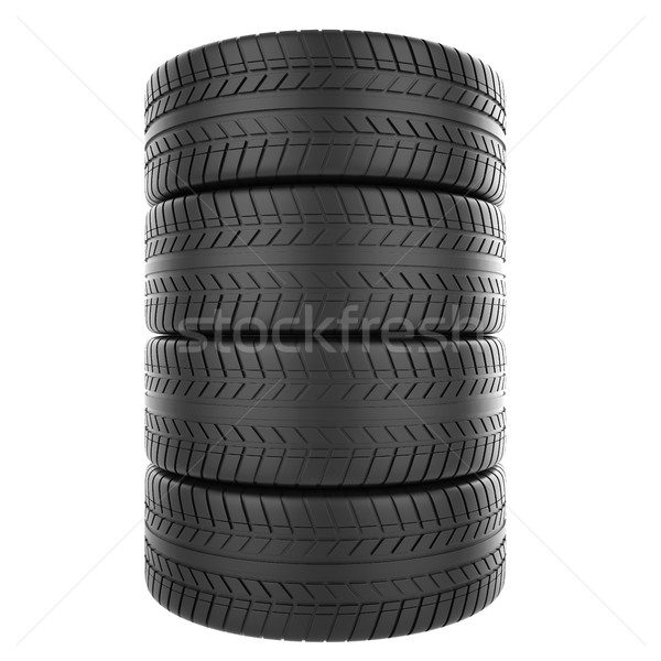 Stack of automotive rubber isolated on white background. Stock photo © ZARost