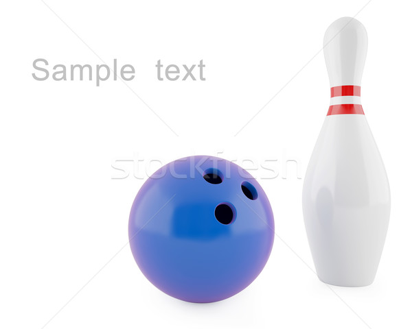 Pin bowling Blauw bal geïsoleerd witte Stockfoto © ZARost