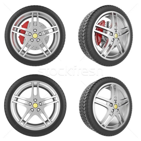 Ingesteld auto wielen geïsoleerd witte 3d illustration Stockfoto © ZARost
