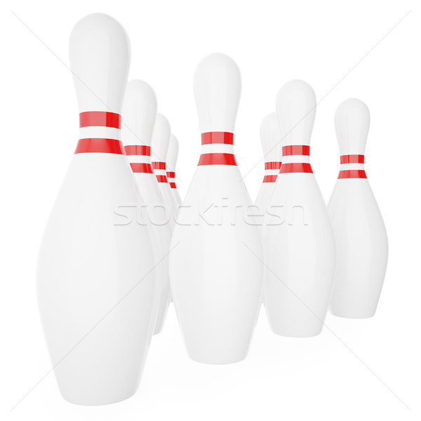 Bowling pins with red stripes isolated on white background.  Stock photo © ZARost