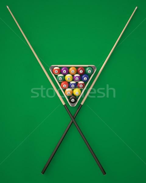 Biljart driehoek groene tabel 3d illustration Stockfoto © ZARost