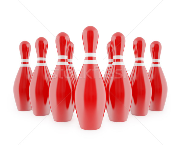 Red bowling pins with white stripes Stock photo © ZARost
