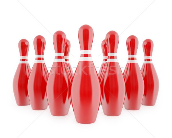 赤 ボーリング 白 孤立した 3次元の図 ストックフォト © ZARost