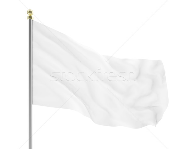 llustration of an empty white flag developing isolated. High-resolution image Stock photo © ZARost