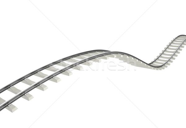 Illustration bend, turn railroad isolated on white background. Stock photo © ZARost