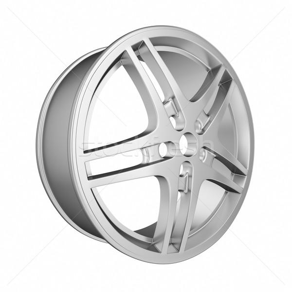 Foto stock: Coche · cromo · rueda · aislado · blanco · 3d