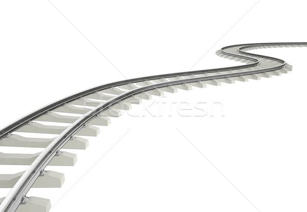 Illustration bend, turn railroad isolated on white background. Stock photo © ZARost