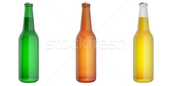 Ingesteld glas bier flessen 3d illustration voedsel Stockfoto © ZARost