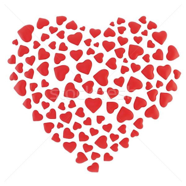 Veel harten hartvorm geïsoleerd witte computer Stockfoto © ZARost