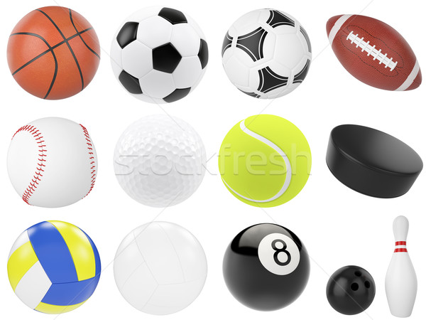 Set of sports balls, soccer, basketball, bowling, rugby, tennis, volleyball, hockey, baseball, billi Stock photo © ZARost