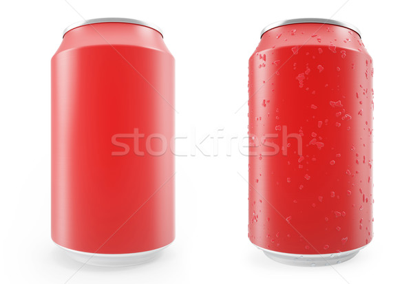 Set red aluminum cans, wet with drops and without, isolated on white background. Stock photo © ZARost