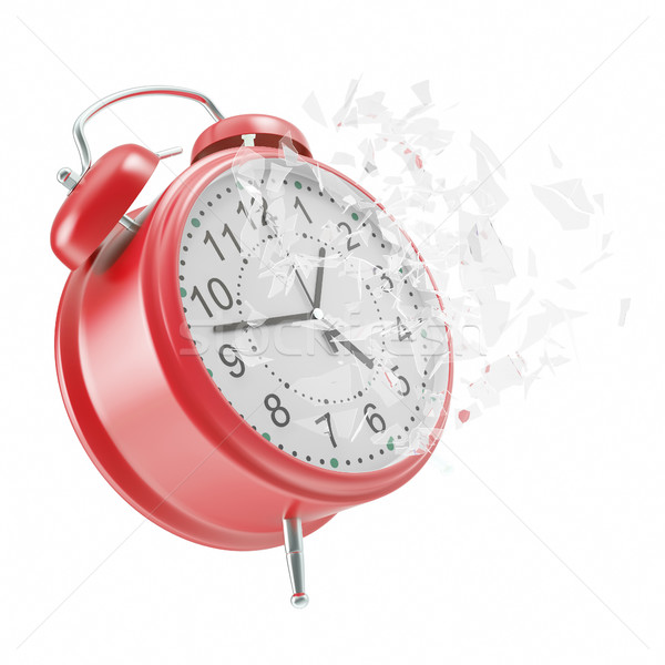 Soaring Clock alarm clock with broken glass shattered into small pieces.  Stock photo © ZARost