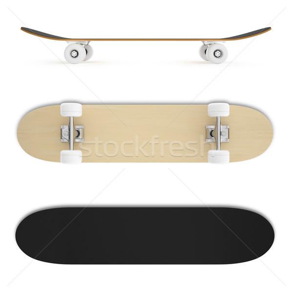 Ingesteld skateboard geïsoleerd witte illustratie hout Stockfoto © ZARost
