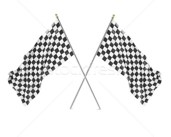 Zwart wit racing vlag geïsoleerd witte schaduwen Stockfoto © ZARost