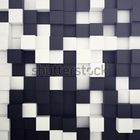 Beyaz siyah soyut örnek 3d illustration Stok fotoğraf © ZARost