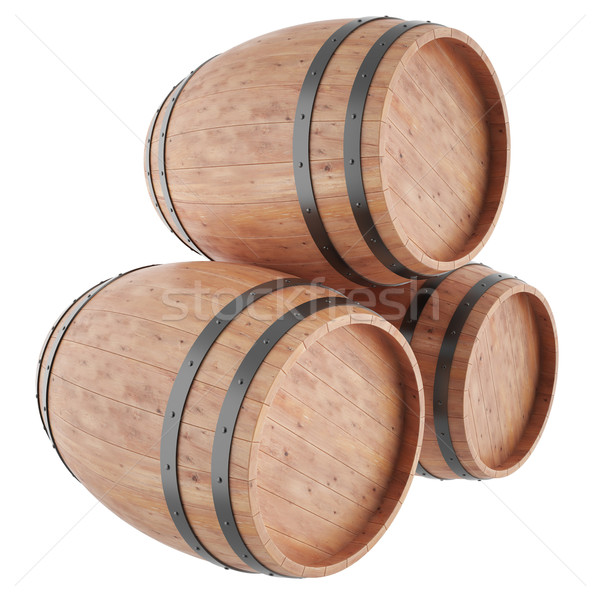Wine, whiskey, rum, beer, barrels isolated on white background. Stock photo © ZARost