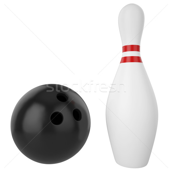 Pin and bowling ball isolated on white background. Stock photo © ZARost