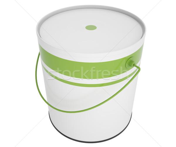 Vol bank groene verf geïsoleerd witte Stockfoto © ZARost