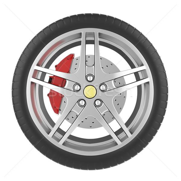 Sport auto wiel geïsoleerd witte 3d illustration Stockfoto © ZARost