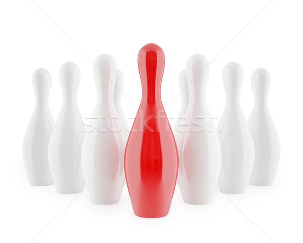 Bowling yalıtılmış beyaz 3d illustration yüksek karar Stok fotoğraf © ZARost