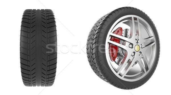 Ayarlamak araba tekerlekler yalıtılmış beyaz 3d illustration Stok fotoğraf © ZARost