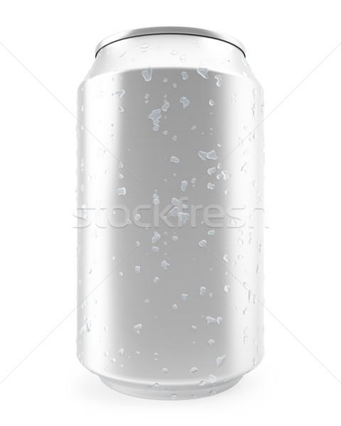 Сток-фото: алюминий · можете · капли · воды · изолированный · белый · 3d · иллюстрации